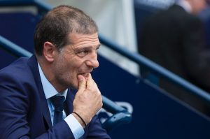 West Ham United's Croatian manager Slaven Bilic takes his seat before the English Premier League football match between Manchester City and West Ham United at the Etihad Stadium in Manchester, north west England, on August 28, 2016. / AFP / JON SUPER / RESTRICTED TO EDITORIAL USE. No use with unauthorized audio, video, data, fixture lists, club/league logos or 'live' services. Online in-match use limited to 75 images, no video emulation. No use in betting, games or single club/league/player publications.  /         (Photo credit should read JON SUPER/AFP/Getty Images)
