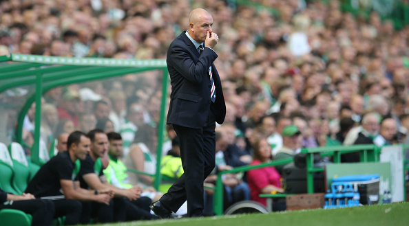 mark Warburton of Rangers looks on