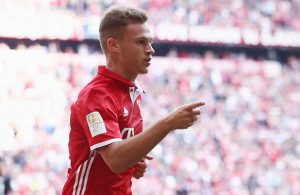 MUNICH, GERMANY - OCTOBER 01: Joshua Kimmich of Muenchen celebrates his team's first goal during the Bundesliga match between Bayern Muenchen and 1. FC Koeln at Allianz Arena on October 1, 2016 in Munich, Germany.  (Photo by Alex Grimm/Bongarts/Getty Images)