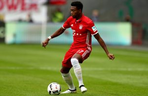 FRANKFURT AM MAIN, GERMANY - OCTOBER 15:  David Alaba of Muenchen runs with the ball during the Bundesliga match between Eintracht Frankfurt and Bayern Muenchen at Commerzbank-Arena on October 15, 2016 in Frankfurt am Main, Germany.  (Photo by Lars Baron/Bongarts/Getty Images)