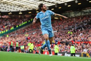 MANCHESTER, ENGLAND - OCTOBER 02: Joe Allen of Stoke City celebrates scoring his sides first goal  during the Premier League match between Manchester United and Stoke City at Old Trafford on October 2, 2016 in Manchester, England.  (Photo by Richard Heathcote/Getty Images)