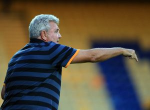 "MANSFIELD, ENGLAND - JULY 19:  Steve Bruce manager of Hull City during the pre-season friendly match between Mansfield Town and Hull City at the One Call Stadium on July 19, 2016 in Mansfield, England. (Photo by Clint Hughes/Getty Images)""n"