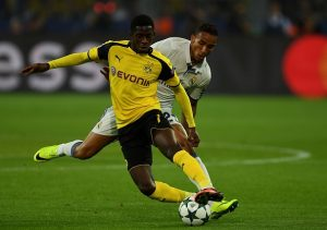 Dortmund's French midfielder Ousmane Dembele (L) and Real Madrid's Brazilian defender Danilo vie during the UEFA Champions League first leg football match between Borussia Dortmund and Real Madrid at BVB stadium in Dortmund, on September 27, 2016. / AFP / PATRIK STOLLARZ        (Photo credit should read PATRIK STOLLARZ/AFP/Getty Images)
