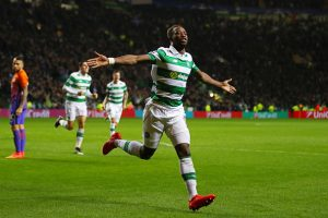 GLASGOW, SCOTLAND - SEPTEMBER 28:  Moussa Dembele of Celtic celebrates after scoring his team's third goal during the UEFA Champions League group C match between Celtic FC and Manchester City FC at Celtic Park on September 28, 2016 in Glasgow, Scotland.  (Photo by Michael Steele/Getty Images)