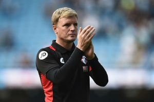 Bournemouth's English manager Eddie Howe applauds at the end of the English Premier League football match between Manchester City and Bournemouth at the Etihad Stadium in Manchester, north west England, on September 17, 2016. / AFP / OLI SCARFF / RESTRICTED TO EDITORIAL USE. No use with unauthorized audio, video, data, fixture lists, club/league logos or 'live' services. Online in-match use limited to 75 images, no video emulation. No use in betting, games or single club/league/player publications.  /         (Photo credit should read OLI SCARFF/AFP/Getty Images)