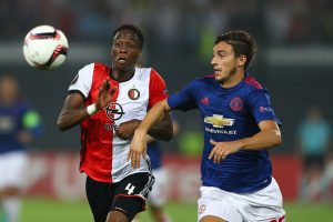 ROTTERDAM, NETHERLANDS - SEPTEMBER 15:  Terence Kongolo of Feyenoord and Matteo Darmian of Manchester United compete for the ball during the UEFA Europa League Group A match between Feyenoord and Manchester United FC at Feijenoord Stadion on September 15, 2016 in Rotterdam, .  (Photo by Dean Mouhtaropoulos/Getty Images)