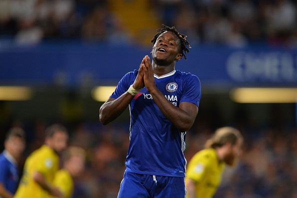 Chelsea's Belgian striker Michy Batshuayi reacts during the English League Cup second round football match between Chelsea and Bristol Rovers at Stamford Bridge in London on August 23, 2016. / AFP / GLYN KIRK / RESTRICTED TO EDITORIAL USE. No use with unauthorized audio, video, data, fixture lists, club/league logos or 'live' services. Online in-match use limited to 75 images, no video emulation. No use in betting, games or single club/league/player publications.  /         (Photo credit should read GLYN KIRK/AFP/Getty Images)