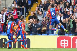 LONDON, ENGLAND - SEPTEMBER 18:  Scott Dann of Crystal Palace celebrates scoring his sides second goal during the Premier League match between Crystal Palace and Stoke City at Selhurst Park on September 18, 2016 in London, England.  (Photo by Warren Little/Getty Images)