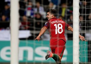 Portugal's forward Andre Silva celebrates after scoring the opening goal  during the WC 2018 football qualification match between Faroe Islands and Portugal in Torshavn on October 10, 2016.  / AFP / FRANCISCO LEONG        (Photo credit should read FRANCISCO LEONG/AFP/Getty Images)