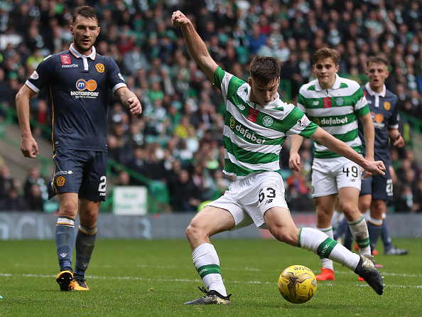 GLASGOW, SCOTLAND - OCTOBER 15: Kieran Tierney of Celtic shoots at goal during the Ladbrokes Scottish Premiership match between Celtic and Motherwell at Celtic Park Stadium on October 15, 2016 in Glasgow, Scotland. (Photo by Ian MacNicol/Getty Images)