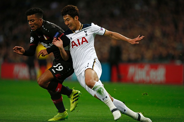Tottenham Hotspur's South Korean striker Son Heung-Min vies with Leverkusen's German defender Benjamin Henrichs (L) during the UEFA Champions League group E football match between Tottenham Hotspur and Bayer Leverkusen at Wembley Stadium in north London on November 2, 2016. / AFP / Adrian DENNIS (Photo credit should read ADRIAN DENNIS/AFP/Getty Images)