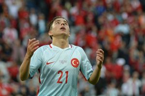 Turkey's forward Emre Mor reacts during the Euro 2016 group D football match between Czech Republic and Turkey at Bollaert-Delelis stadium in Lens on June 21, 2016. / AFP / DENIS CHARLET        (Photo credit should read DENIS CHARLET/AFP/Getty Images)