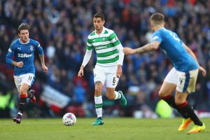 GLASGOW, SCOTLAND - OCTOBER 23:  Nir Bitton (C) of Celtic is tracked by Josh Windass (L) and Rob Kiernan (R) of Rangers during the Betfred Cup Semi-Final match between Rangers and Celtic at Hampden Park on October 23, 2016 in Glasgow, Scotland.  (Photo by Michael Steele/Getty Images)