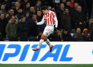 LONDON, ENGLAND - NOVEMBER 05:  Bojan Krkic of Stoke City celebrates scoring his sides first goal during the Premier League match between West Ham United and Stoke City at Olympic Stadium on November 5, 2016 in London, England.  (Photo by Shaun Botterill/Getty Images)