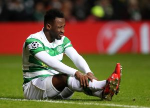 GLASGOW, SCOTLAND - NOVEMBER 23: Moussa Dembele of Celtic reacts during the UEFA Champions League Group C match between Celtic FC and FC Barcelona at Celtic Park Stadium on November 23, 2016 in Glasgow, Scotland.  (Photo by Ian MacNicol/Getty Images)
