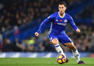 Chelsea's Belgian midfielder Eden Hazard runs with the ball during the English Premier League football match between Chelsea and Everton at Stamford Bridge in London on November 5, 2016. / AFP / Glyn KIRK / RESTRICTED TO EDITORIAL USE. No use with unauthorized audio, video, data, fixture lists, club/league logos or 'live' services. Online in-match use limited to 75 images, no video emulation. No use in betting, games or single club/league/player publications.  /         (Photo credit should read GLYN KIRK/AFP/Getty Images)