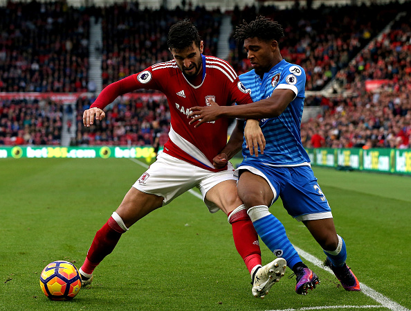 Jordon Ibe fighting for the ball against Middlesbrough