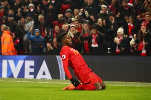 LIVERPOOL, ENGLAND - NOVEMBER 26:  Divock Origi of Liverpool celebrates scoring the opening goal during the Premier League match between Liverpool and Sunderland at Anfield on November 26, 2016 in Liverpool, England.  (Photo by Clive Brunskill/Getty Images)