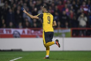 NOTTINGHAM, ENGLAND - SEPTEMBER 20: Lucas Perez of Arsenal celebrates after scoring his sides second goal  during the EFL Cup Third Round match between Nottingham Forest and Arsenal at City Ground on September 20, 2016 in Nottingham, England.  (Photo by Shaun Botterill/Getty Images)