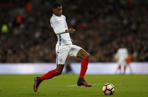 England's striker Marcus Rashford controls the ball during the friendly international football match between England and Spain at Wembley Stadium, north-west London, on November 15, 2016. / AFP / Adrian DENNIS / NOT FOR MARKETING OR ADVERTISING USE / RESTRICTED TO EDITORIAL USE         (Photo credit should read ADRIAN DENNIS/AFP/Getty Images)