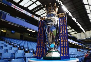 LONDON, ENGLAND - SEPTEMBER 16:  The Premier League trophy on display prior to the Premier League match between Chelsea and Liverpool at Stamford Bridge on September 16, 2016 in London, England.  (Photo by Clive Rose/Getty Images)