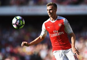 LONDON, ENGLAND - AUGUST 14:  Rob Holding of Arsenal in action during the Premier League match between Arsenal and Liverpool at Emirates Stadium on August 14, 2016 in London, England.  (Photo by Michael Regan/Getty Images)