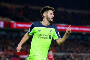 MIDDLESBROUGH, ENGLAND - DECEMBER 14: Adam Lallana of Liverpool celebrates scoring his sides third goal during the Premier League match between Middlesbrough and Liverpool at Riverside Stadium on December 14, 2016 in Middlesbrough, England.  (Photo by Alex Livesey/Getty Images)