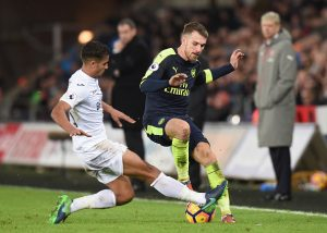 SWANSEA, WALES - JANUARY 14: Kyle Naughton of Swansea City (L) tackles Aaron Ramsey of Arsenal (R) during the Premier League match between Swansea City and Arsenal at Liberty Stadium on January 14, 2017 in Swansea, Wales.  (Photo by Tony Marshall/Getty Images)