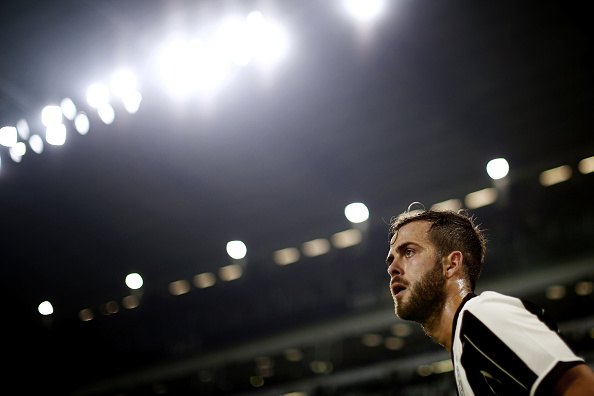 Barcelona complete signing of Miralem Pjanic who is seen in the picture