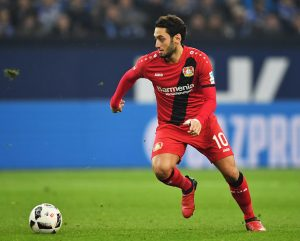 GELSENKIRCHEN, GERMANY - DECEMBER 11:  Hakan Calhanoglu of Leverkusen in action during the Bundesliga match between FC Schalke 04 and Bayer 04 Leverkusen at Veltins-Arena on December 11, 2016 in Gelsenkirchen, Germany.  (Photo by Stuart Franklin/Bongarts/Getty Images)