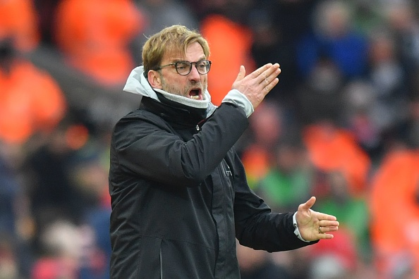 Liverpool's German manager Jurgen Klopp gestures on the touchline during the English Premier League football match between Liverpool and Swansea City at Anfield in Liverpool, north west England on January 21, 2017. / AFP / Anthony DEVLIN / RESTRICTED TO EDITORIAL USE. No use with unauthorized audio, video, data, fixture lists, club/league logos or 'live' services. Online in-match use limited to 75 images, no video emulation. No use in betting, games or single club/league/player publications.  /         (Photo credit should read ANTHONY DEVLIN/AFP/Getty Images)