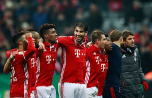 MUNICH, GERMANY - FEBRUARY 07:  Javi Martinez of Bayern Muenchen and team mates celebrate victory after the DFB Cup Round Of 16 match between Bayern Muenchen and VfL Wolfsburg at Allianz Arena on February 7, 2017 in Munich, Germany.  (Photo by Adam Pretty/Bongarts/Getty Images)