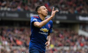 MIDDLESBROUGH, ENGLAND - MARCH 19: Jesse Lingard of Manchester United celebrates scoring his sides second goal during the Premier League match between Middlesbrough and Manchester United at Riverside Stadium on March 19, 2017 in Middlesbrough, England. (Photo by Stu Forster/Getty Images)