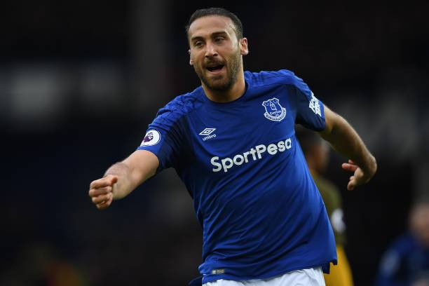 Everton forward Cenk Tosun is in action.