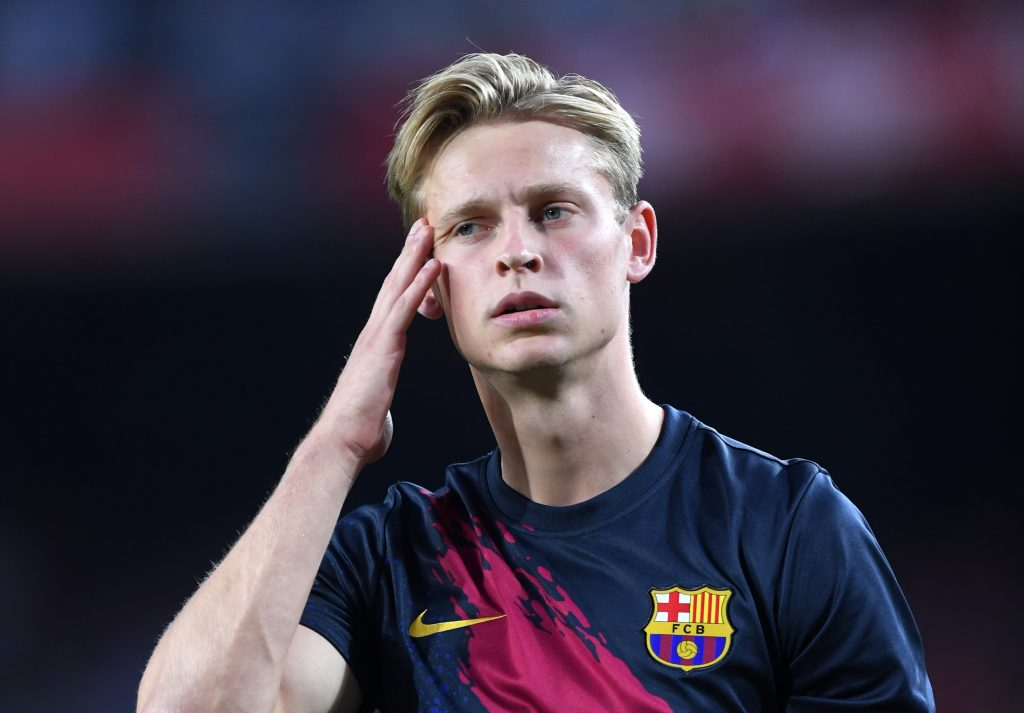 Frenkie De Jong of Barcelona looks on