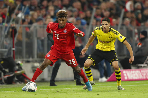 Manchester City locked in a three-way battle for Kingsley Coman who is in action in the photo