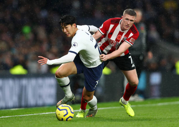 Sheffield United vs Tottenham Hotspur tactical preview (Tottenham's Heung-min Son being challenged by Sheffield's John Lundstram in the photo)