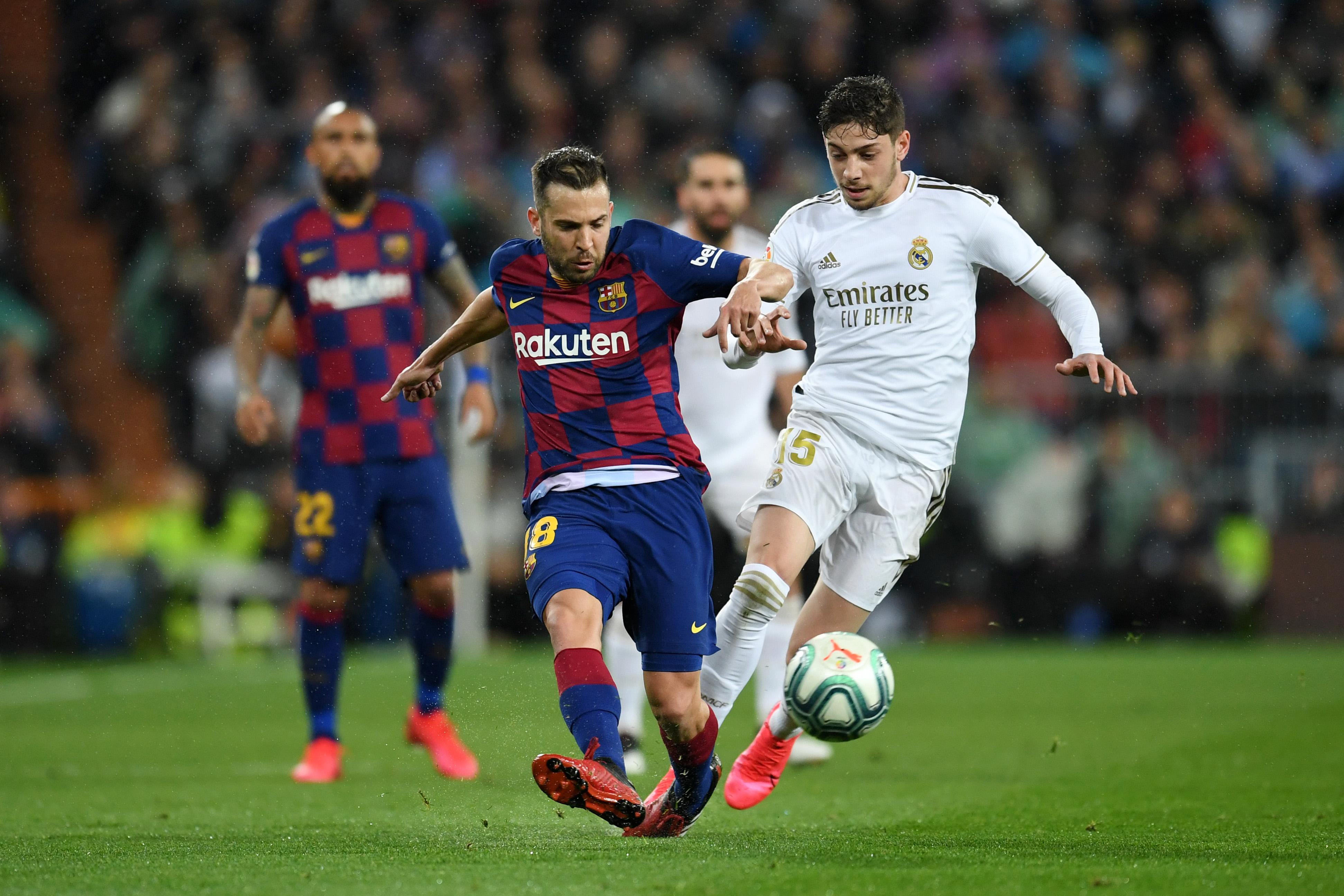 4-3-3 Barcelona Predicted Lineup Vs Espanyol (Barcelona's Jorgi Alba in action in the photo)