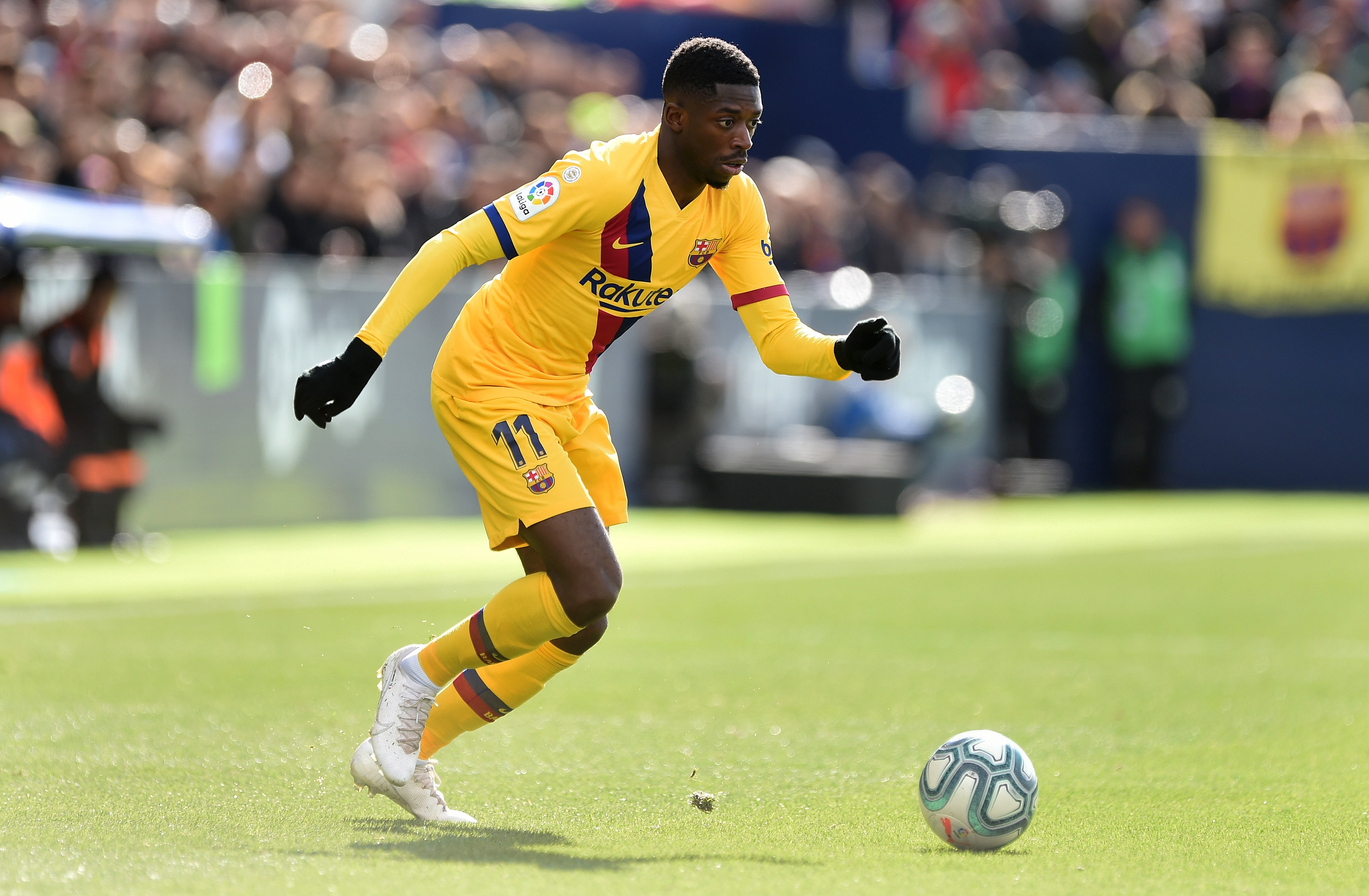 Liverpool have not tabled a loan offer for Ousmane Dembele who is in action in the picture