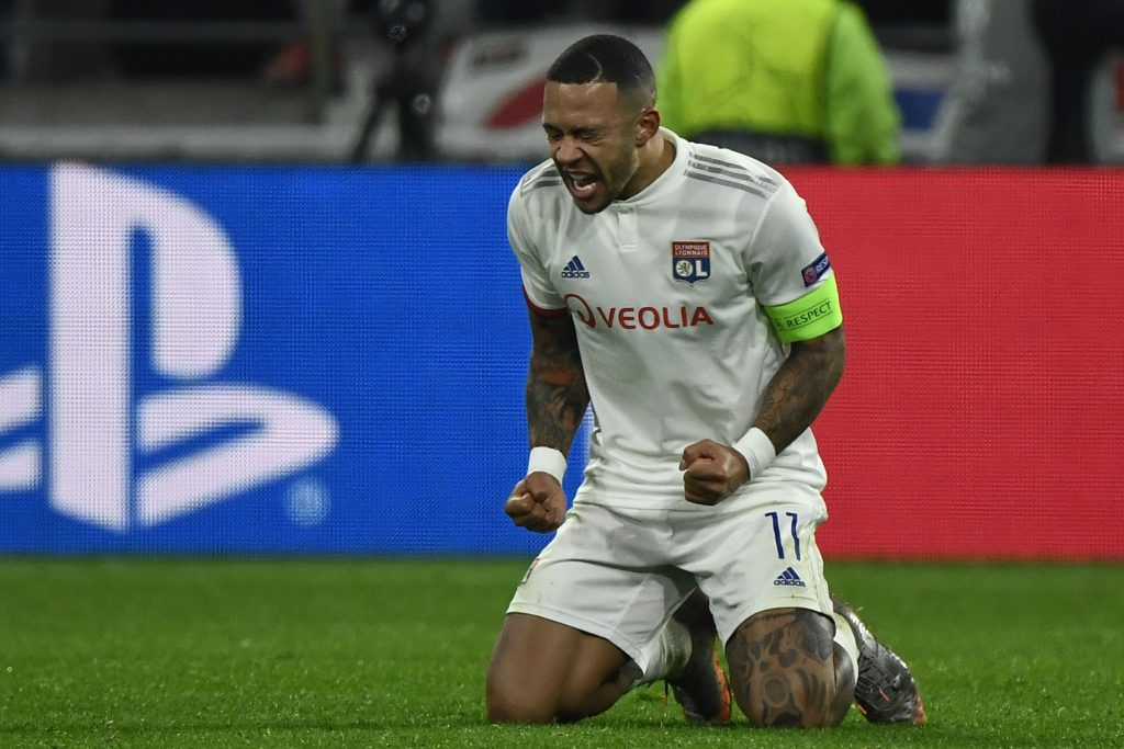 Chelsea Are Keen On Memphis Depay's Signature - Depay celebrates after a Lyon goal