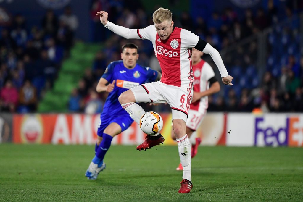 Manchester United facing fierce competition for Van de Beek who is in action in the picture