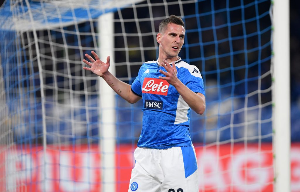 Tottenham Hotspur unwilling to pay €40m for Milik who is in action in the picture