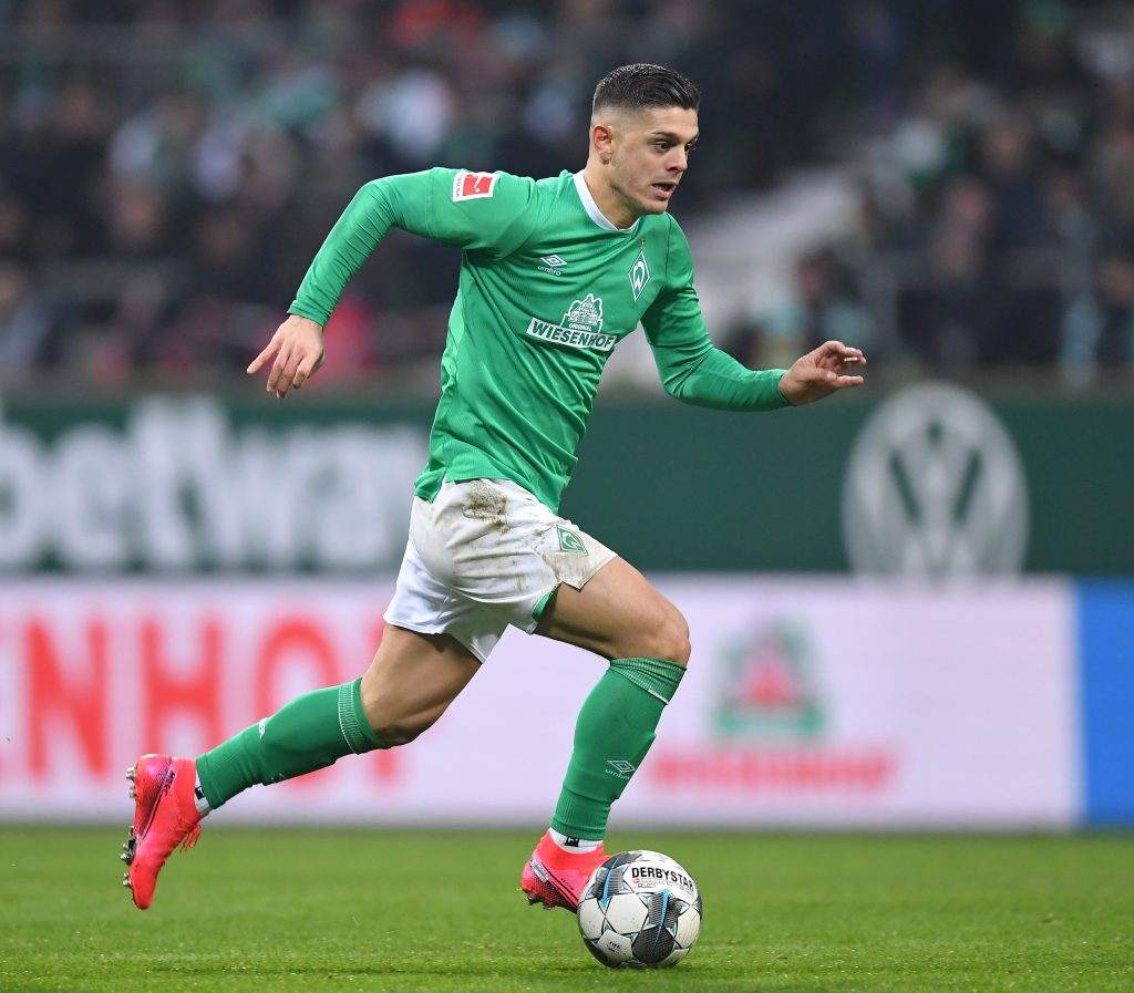 Aston Villa are in advanced talks with agent of Rashica who is in action in the photo