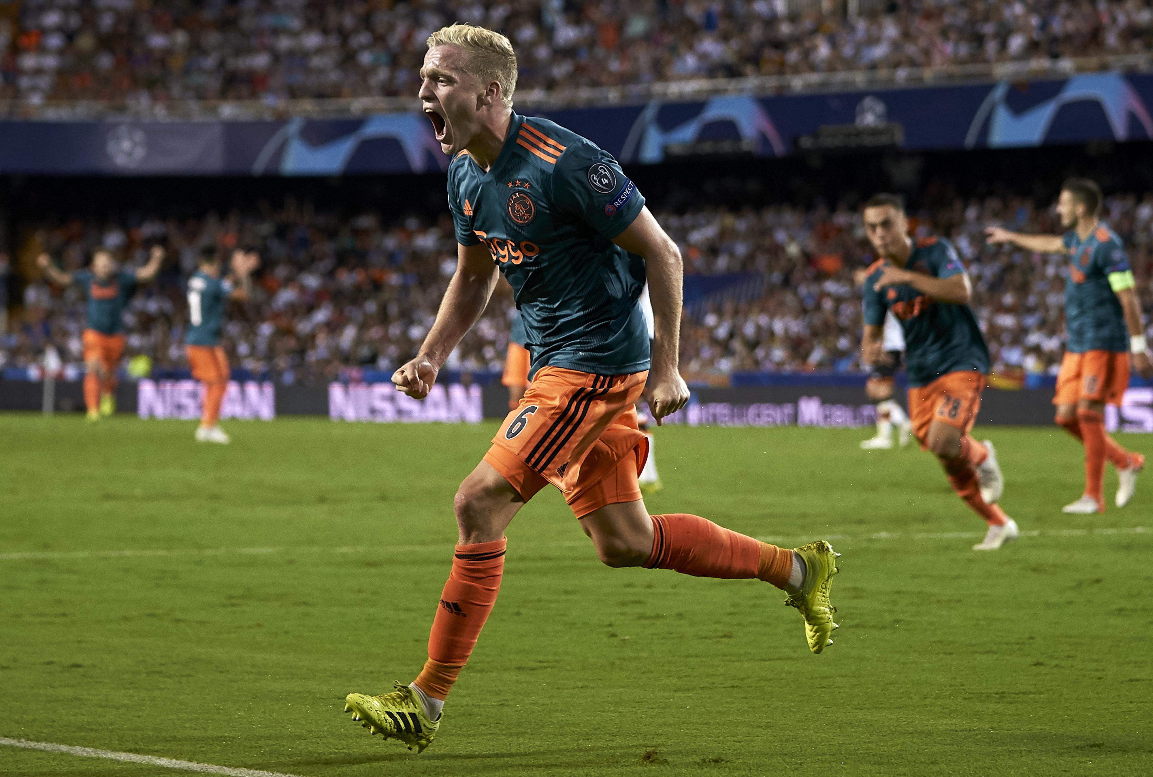 Gronkjaer Urges Donny Van De Beek To Join Chelsea - Van de Beek celebrates a goal
