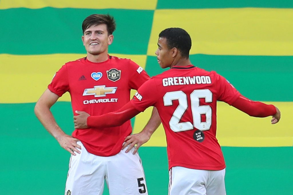 4-2-3-1 Manchester United Predicted Lineup Vs Bournemouth (Man United's Harry Maguire and Mason Greenwood celebrating in the photo)