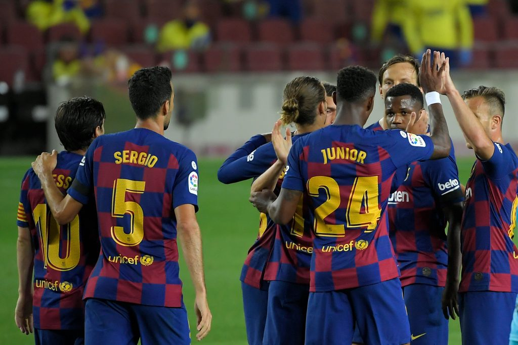 4-3-3 Barcelona Predicted Lineup Vs Espanyol (Barcelona players celebrating in the picture)