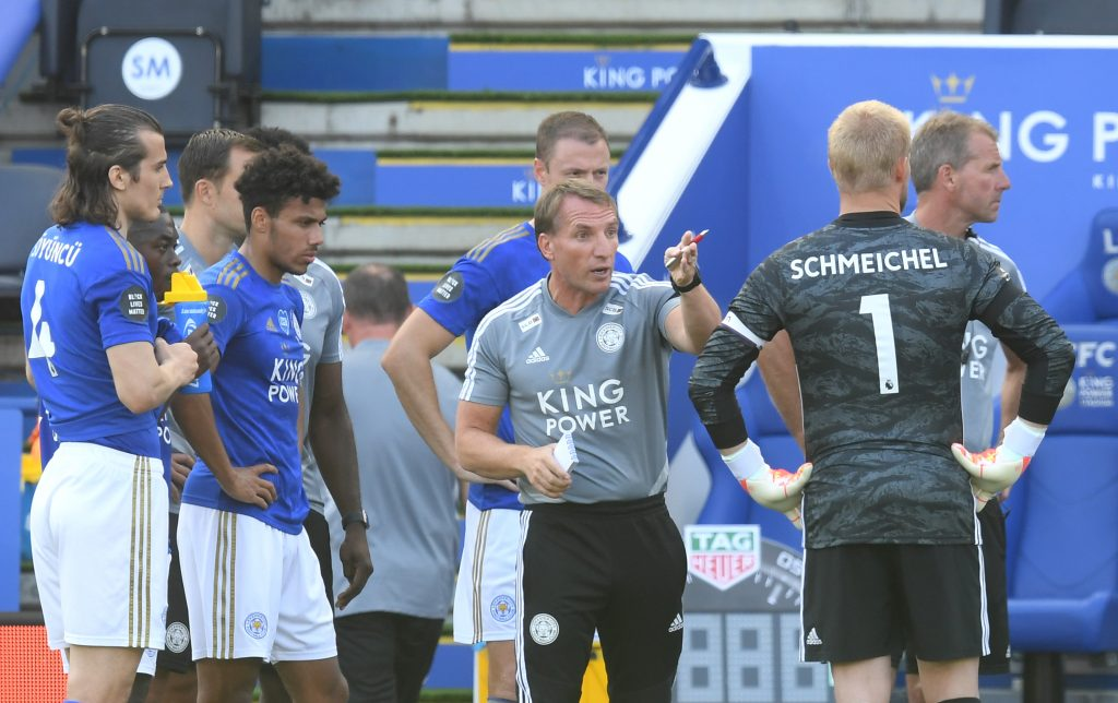 4-1-4-1 Leicester City Predicted Lineup Vs Chelsea (Brendan Rodgers giving a pep talk to his players in the photo)