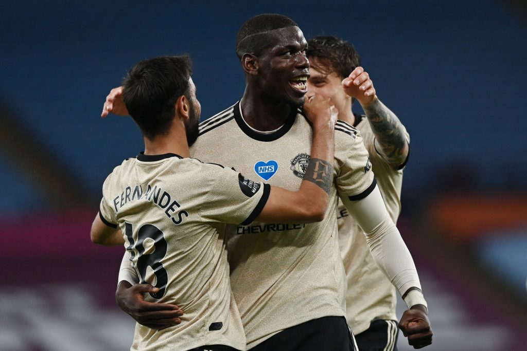 Manchester United player ratings vs Aston Villa (Man United's Paul Pogba and Bruno Fernandes celebrating a goal in the photo)