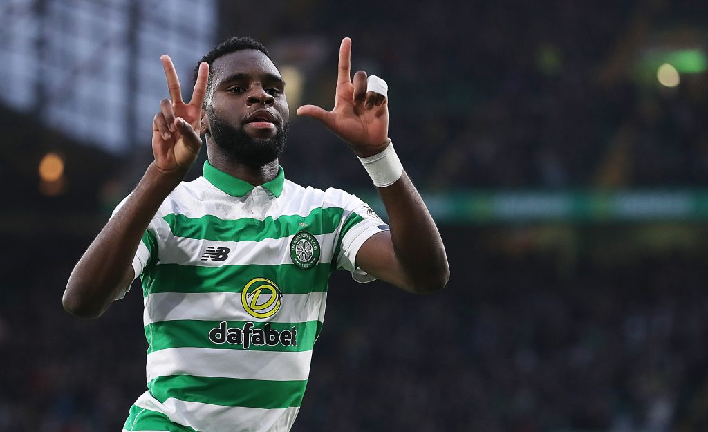 Aston Villa locked in a three-way race for Celtic's Edouard who is celebrating in the photo