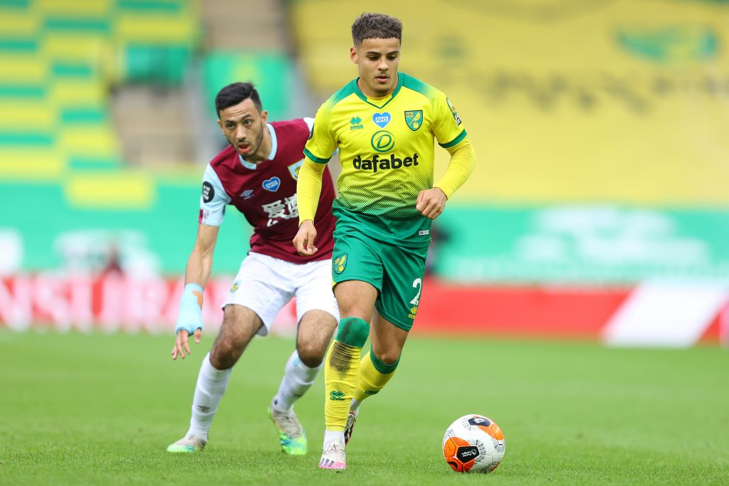 Wolves eyeing a summer move for Max Aarons who is in action in the photo